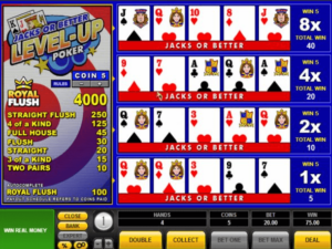 Jacks or Better level up casino game.