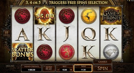 Game of Thrones 15 Payline Online Slot