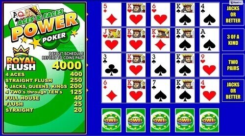 Play top CA Aces and Faces 100 Play Power Poker
