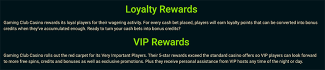 Gaming Club Loyalty and VIP