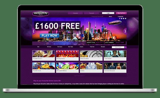 Jackpot City on laptop screen
