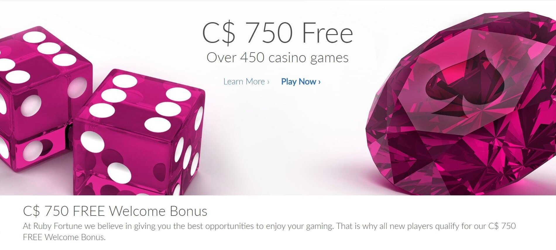 Welcome bonus section of Ruby Fortune Casino website