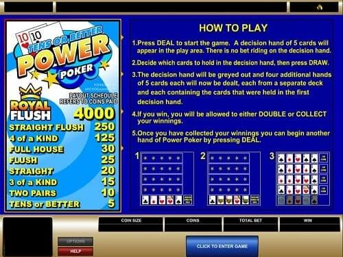 Microgaming Tens or Better Power Poker Canada