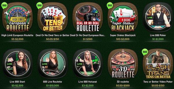 888 Canada Casino games