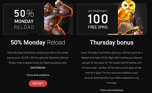 CasinoChan Weekly Bonuses