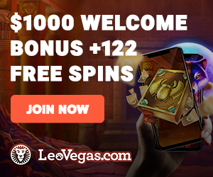 $1000 welcome bonus plus 122 free spins at Leo Vegas.com