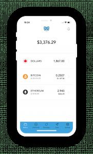 Screenshot of Shakepay mobile app.