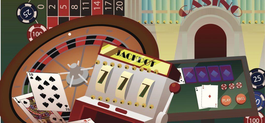 Collage of casino games like slots, roulette, blackjack, etc.