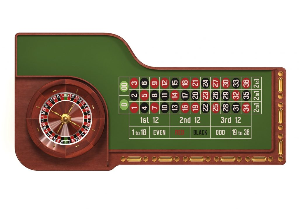 Standard roulette table with white background.