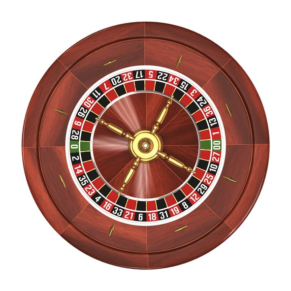 Wooden roulette wheel on white background.