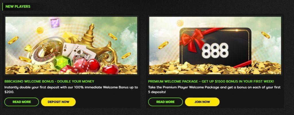 Screenshot of casino welcome bonus at 888Casino