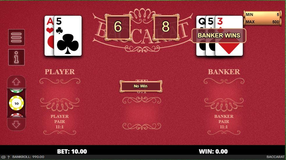 Online baccarat game board.
