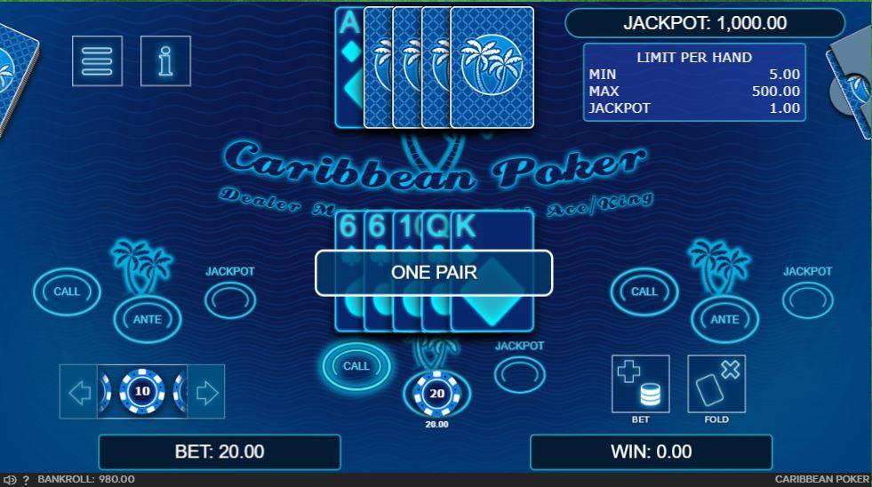 Online Caribbean poker table
