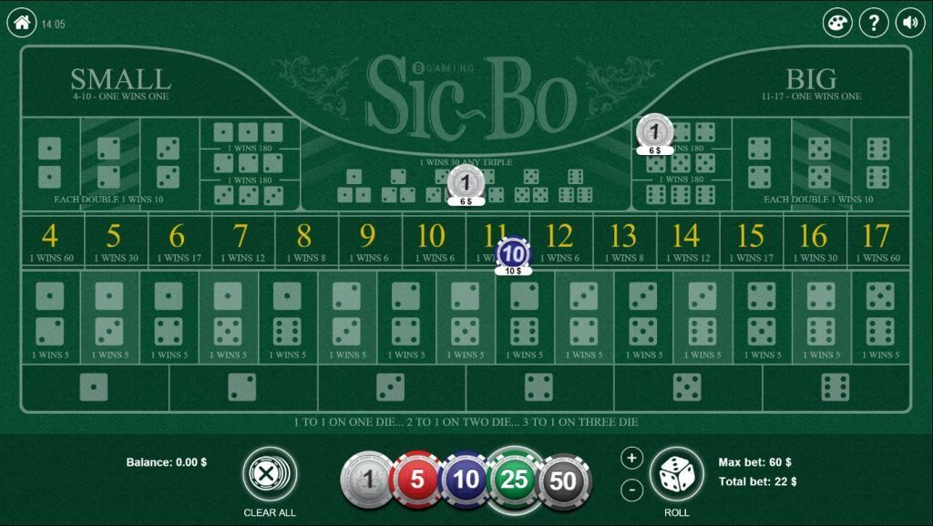 Sic bo table with bets on it.
