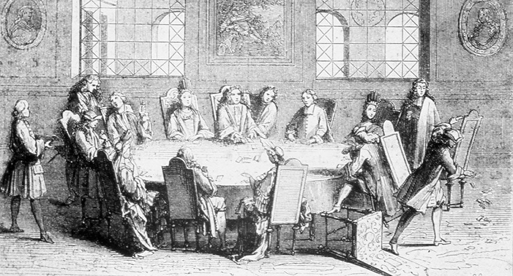 Black and white drawing of people playing baccarat