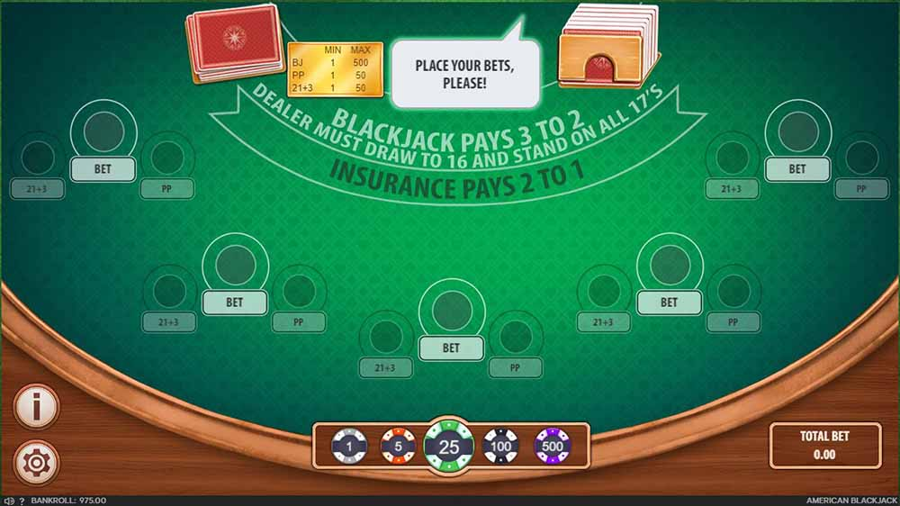 Screenshot of online blackjack