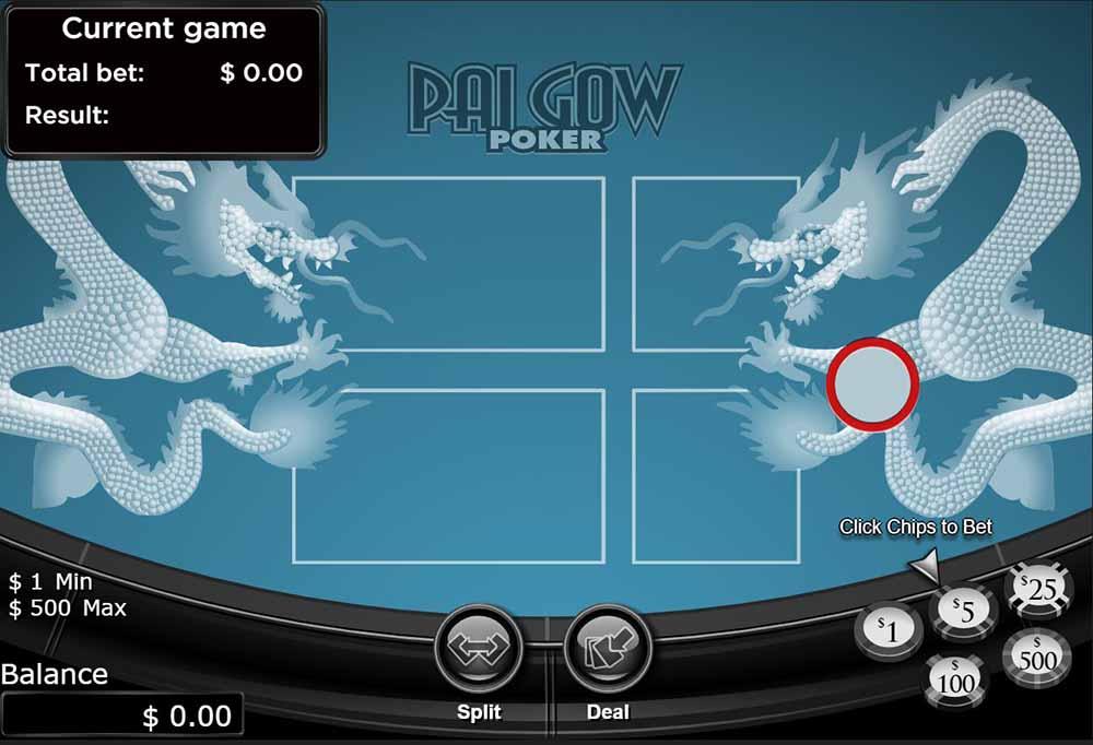 Screenshot of online pai gow poker.