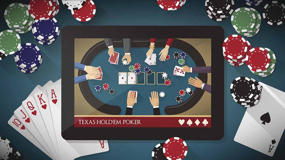 Tablet displaying online poker surrounded by cards and poker chips