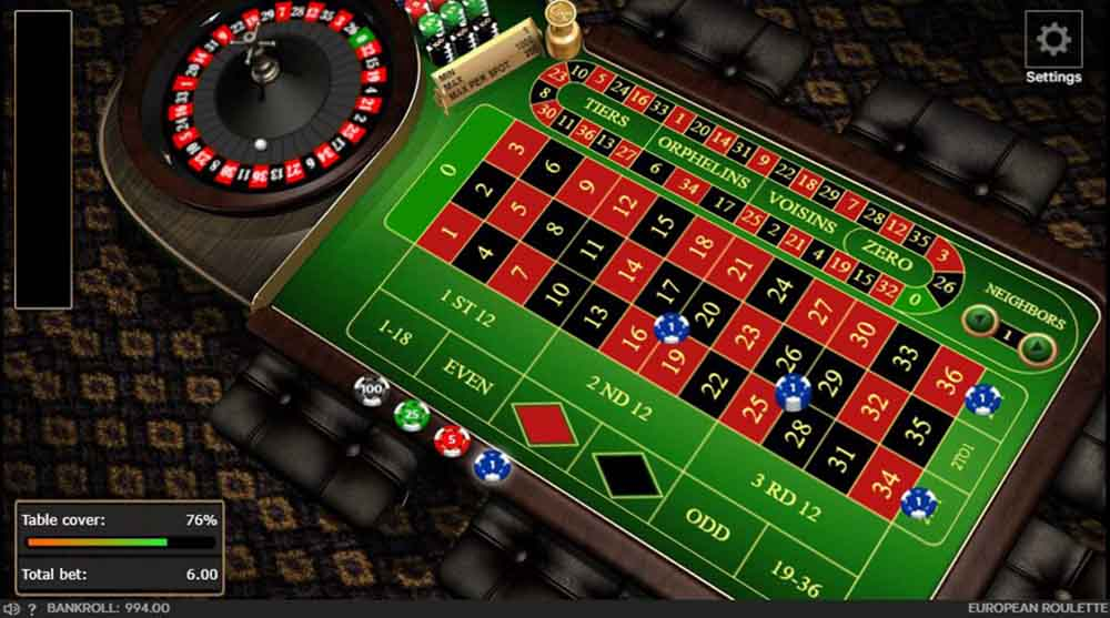 Online roulette table with bets placed.