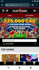 Screenshot of Playamo casino on mobile