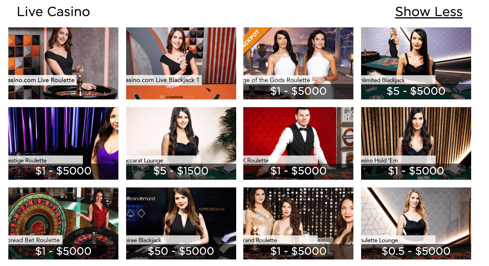 Casino.com Live Dealer Games